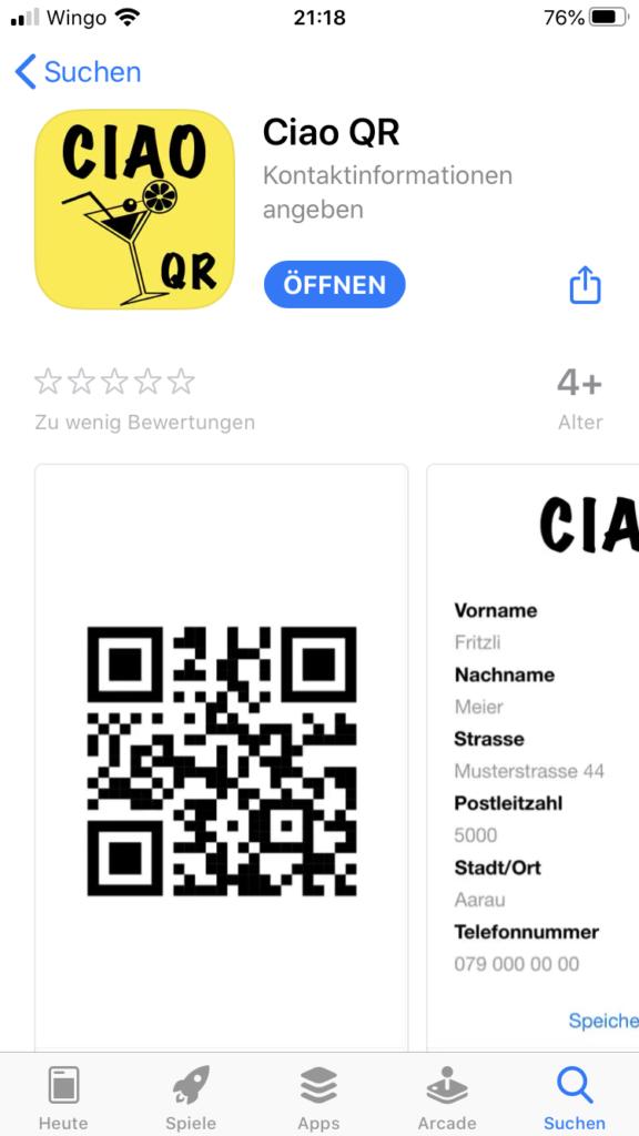 App Ciao QR Screenshot